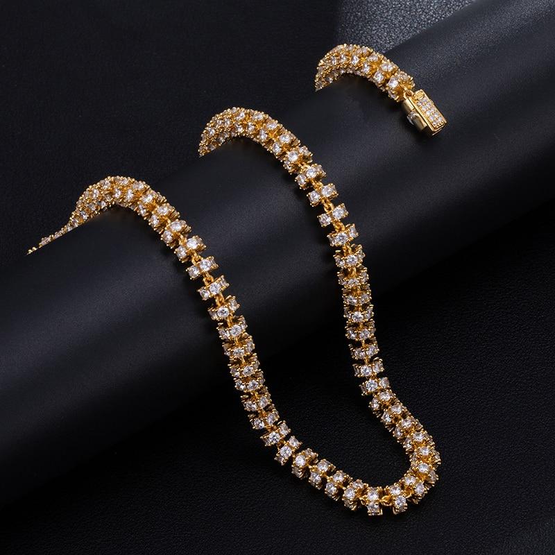 6MM ensemble Bling AAA CZ zircon cubique glacé rond lien chaîne collier Bracelet pour hommes Hip Hop rappeur bijoux 18 ''-24'' - 2