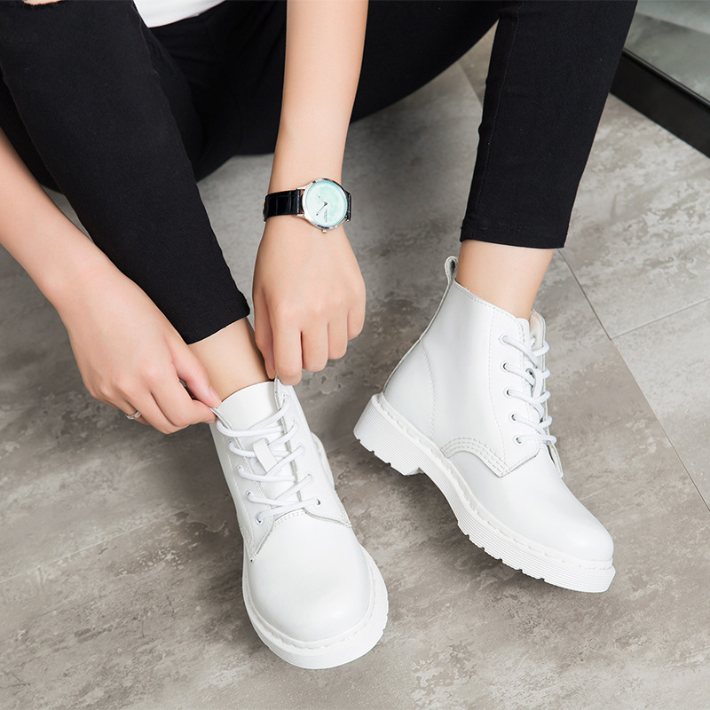 Dropshipping Genuine Leather Women White Ankle Boots Motorcycle Boots Female Autumn Winter Shoes Woman Punk Motorcycle Boots