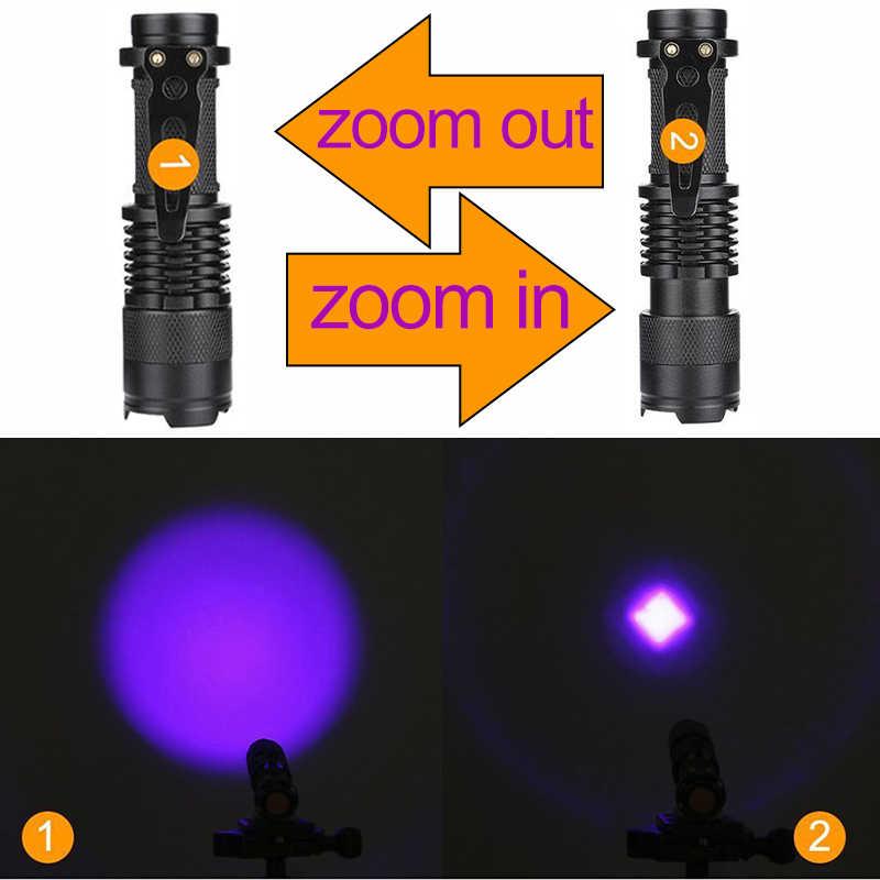 Uv led lanterna mini led tocha 395nm blacklight comprimento de onda violeta luz zoomable pet urina escorpião detector higiene feminino