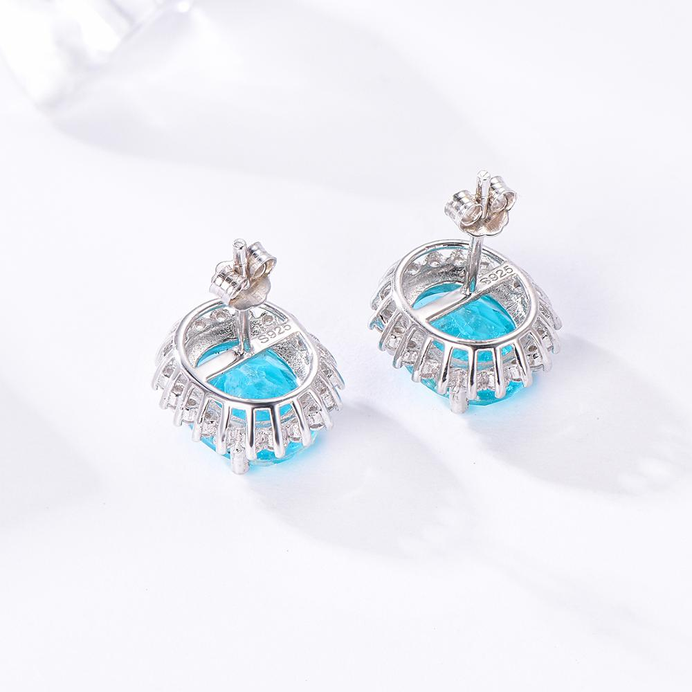 Paraiba Tourmaline Gemstone Ring, Earrings, Pendant Necklace in Solid 925 Sterling Silver