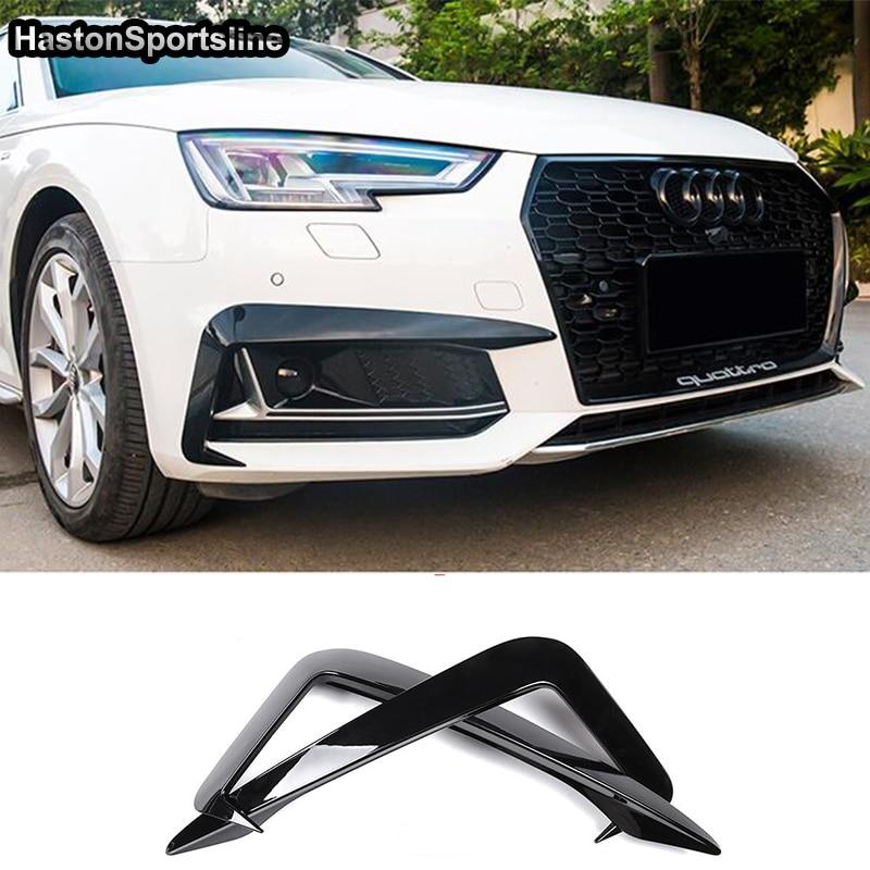 Otomobiller ve Motosikletler'ten Tamponlar'de Siyah ön sis lambası gözkapağı kaş Fin ayırıcılar Trim kantarlar Audi A4 Sline S4 2017 2018 2019 2 adet araba Styling title=
