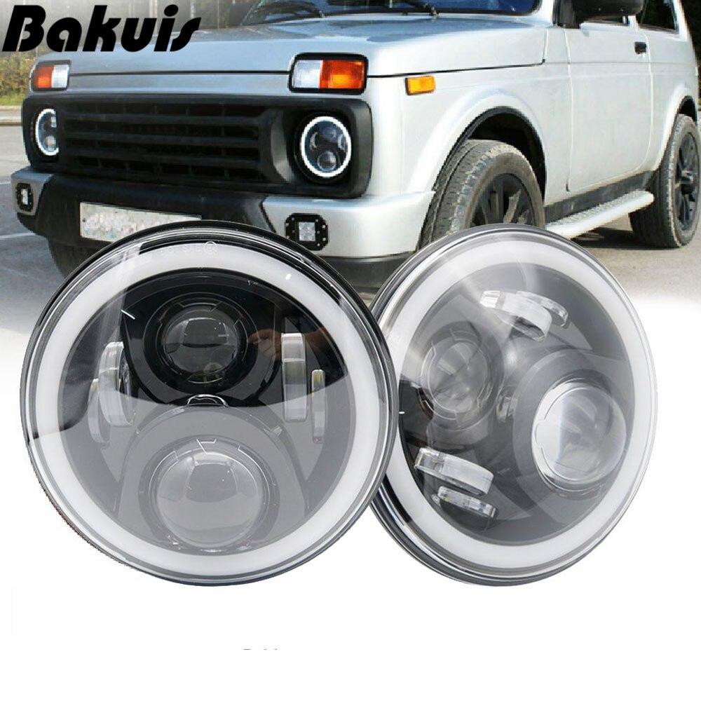 7 pouces lampe frontale à LED avec anneau Halo clignotant ambre pour lada niva 4x4 suzuki samouraï 7 LED DRL Halo phares pour VAZ 2101