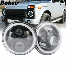 "7Inch LED Headlamps with Halo Ring Amber Turn Signal For lada niva 4x4 suzuki samurai 7"" LED DRL Halo Headlights For VAZ 2101(China)"