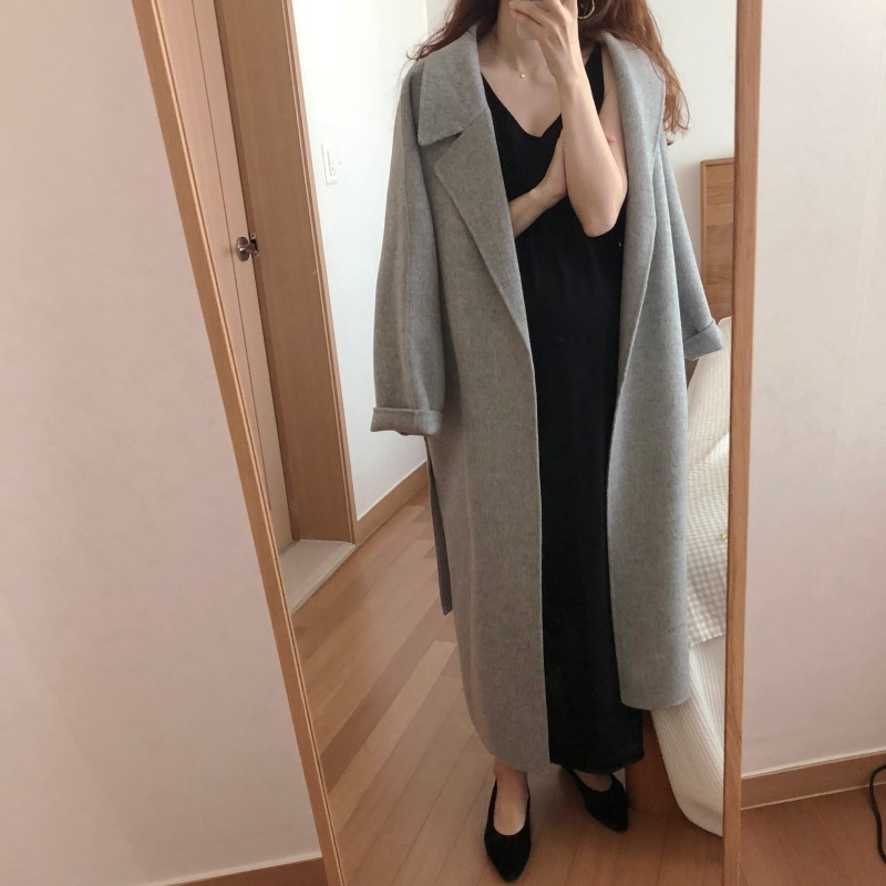 H8a5c613580bf4c7e96022a9f67bf002fv Winter Fashion Coats Women Wool-blend Coat Lazy Oaf Long Chunky Warm Coat Western Style Fitted Waist Lace-up  Loose Coat