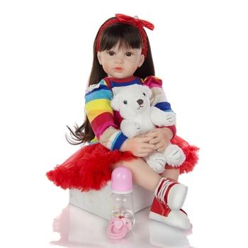 "Girl reborn toddler doll toys 24"" 60cm big silicone vinyl reborn baby dolls handmade bebe reborn doll with long hair"