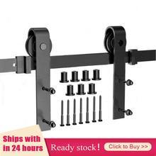 183/200CM Rustic Black Classic Sliding Barn Door Hardware Barn Wood Door Sliding Track Kit Roller Rail for Single Door Sale! HWC