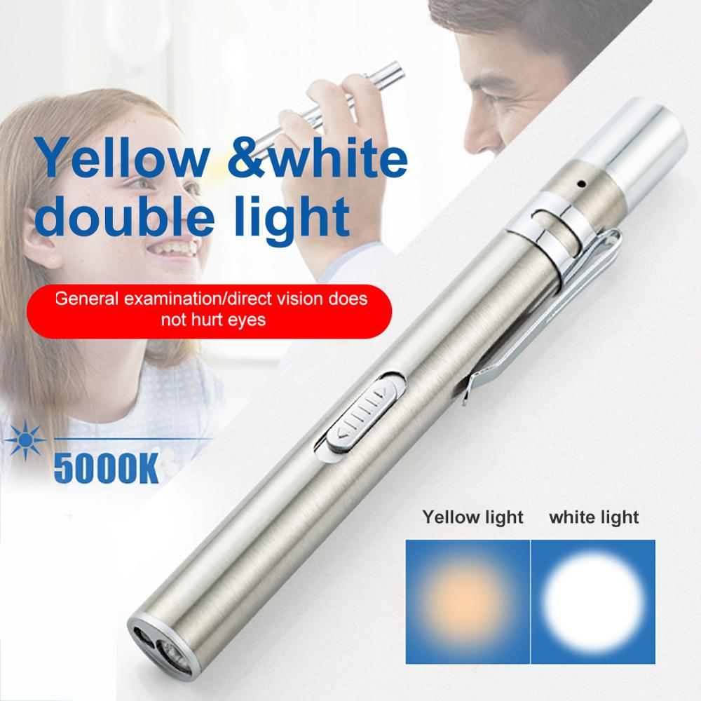 USB Rechargeable Medical Handy Pen Light Mini Nursing Flashlight LED Torch Lamp With Stainless Steel Clip Pocket Led Flashlight