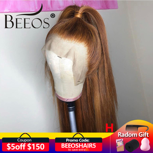 Beeos Brazilian Remy Hair 13*6 Deep Part Lace Front Wig 180% Straight Honey Blonde Color Pre Plucked Bleached Knots Lace Wigs