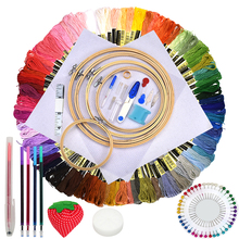 Jiwuo Embroidery Threads Multi Colors Cross Stitch Floss Threads Cotton Bamboo +5 pcs Embroidery Thread Hoop DIY Sewing Tools jiwuo 100 color embroidery floss cross stitch cotton bamboo embroidery thread sewing skeins floss hoop kit sewing craft tool