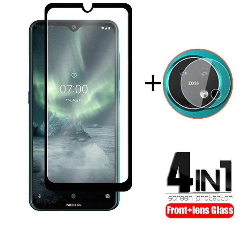 4-in-1 Per Nokia 7.2 in Vetro Per Nokia 7.2 Vetro Temperato Protezione Dello Schermo Della Macchina Fotografica di Protezione Flim Per per Nokia 6.2 7.2 5.3 Obiettivo di Vetro
