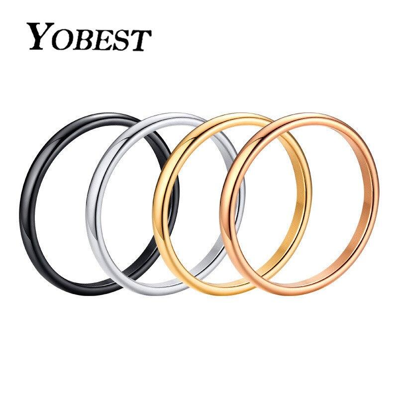 Yobest 2020 novo anel de noivado para as mulheres simples 316l aço inoxidável cor do ouro dedo presente da menina