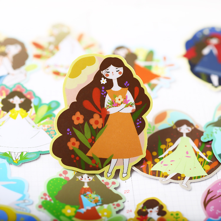 20PCS Flower Girl Stickers Crafts And Scrapbooking Stickers Book Student Label Decorative Sticker Kids Toys