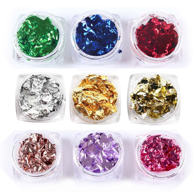RIKONKA 1Set Colorful  Nail Sequins Paillette Foils Golden Siler Red Colorful  Nail Stickers Nail Art Decoration Mirror Glitter