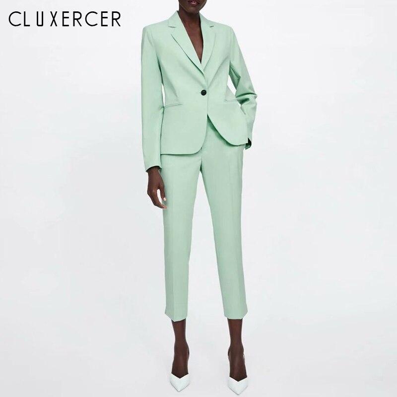 Women Pant Suit 2019 New Elegant Light Blue Blazer Jacket And Pants 2 Pieces Set Office Women's Suit