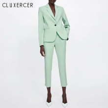 Women Pant Suit 2019 New Elegant Light Blue Blazer Jacket And Pants 2 Pieces