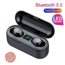 F9 Portable LED Power Display Waterproof Dustproof Wireless Bluetooth 5.0 Earphones with Charging Box