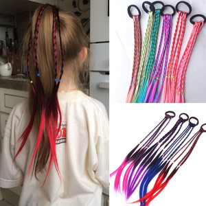 New Cute Girls Elastic Hair Rope Rubber Bands Braides Hair Accessories Wig Ponytail Hair Ring Kids Twist Braid Rope Hair Braider(China)