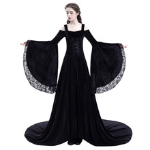 Retro Medieval Princess Party Dress Women Renaissance Cosplay Lace Patchwork Floor Length Maxi Vestidos De Verano