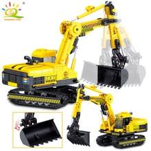 Huiqibao brinquedos 747pcs engenharia escavadeira blocos de construção conjunto cidade caminhão construção tijolo brinquedos carro para crianças criança
