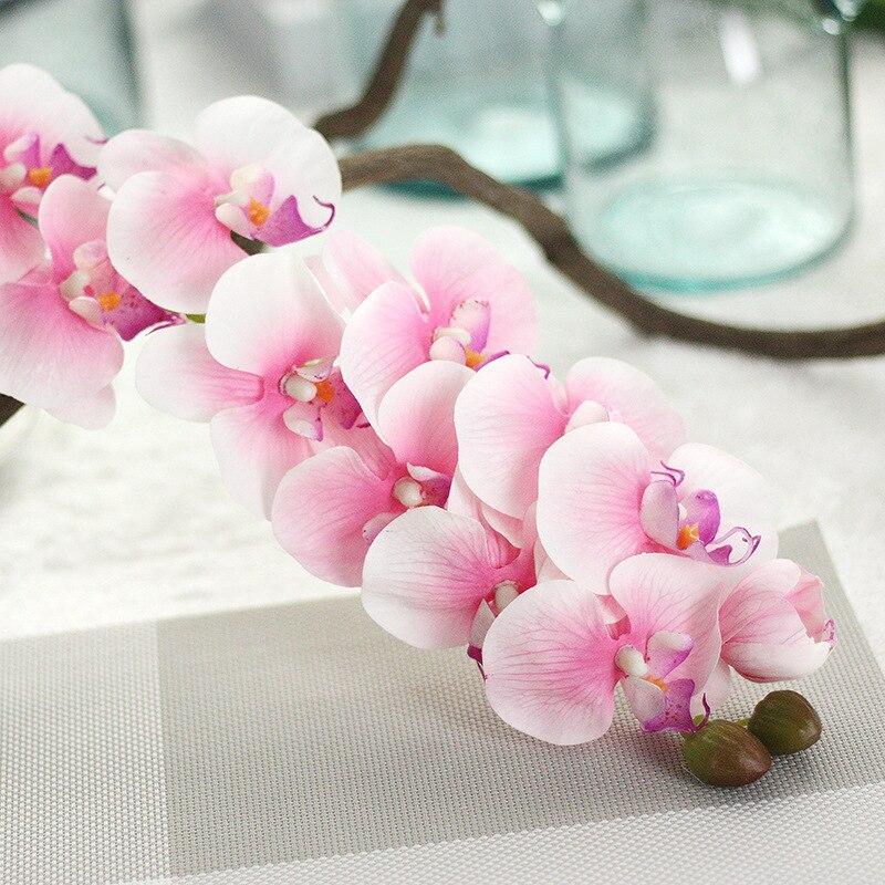 2pc 11 Head Glue Phalaenopsis Silk & Plastic Artificial Flower For Wedding Party High Quality Decor Fake Flower Faux