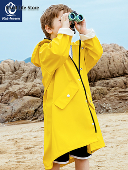 Waterproof Cute Long Raincoat Kids Yellow Pink Rain Ponch Jacket  Rain Partner Children Windbreaker Capa De Chuva Birthday Gift