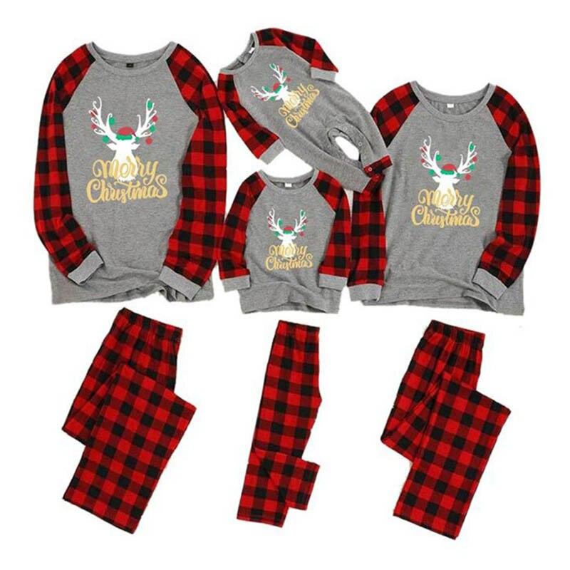 Christmas Deer Family Pajamas Set Adult Kids Party Nightwear Clothing Cartoon Deer Sleepwear Christmas Clothes