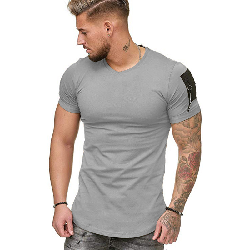 2020 New Men's T-shirt Fashion Slim O-Neck Pure Color Cotton Casual Top Short Sleeve Standard European Size S-5XL