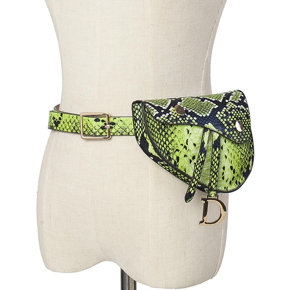 Women Waist Packs Neon Green Femmes Fanny Pack Serpent Ceinture Sac Girl Serpentine Mini Fashion Bags Voyage Hanche Bum Sac