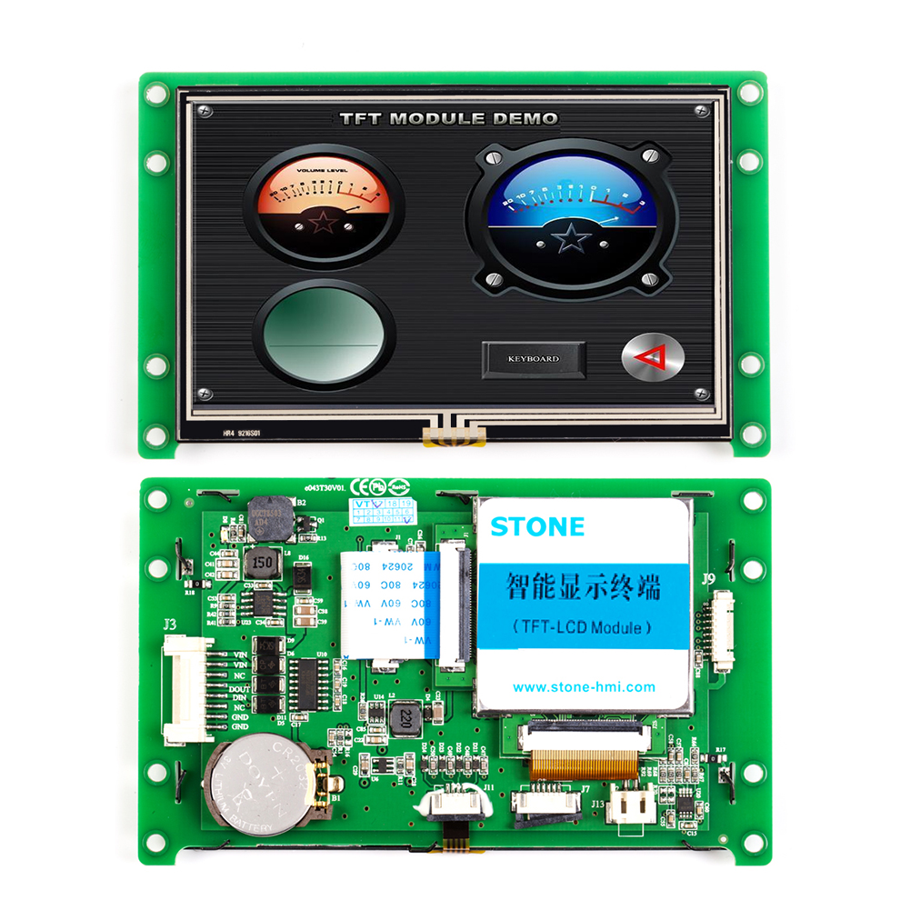 <font><b>4.3</b></font> <font><b>Inch</b></font> UART HMI Smart LCD Embedded Touch Display Module Support Interface RS232/RS485/TTL for Equipment Use image