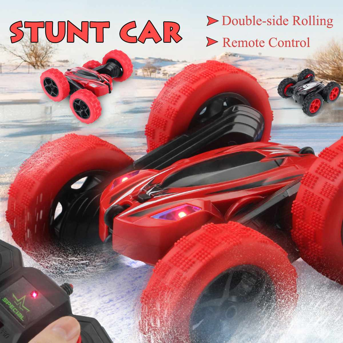 RC Flip Stunt Car 2.4G Remote Control Car Double-side Rolling 360 Degrees Rotating with Light 1:24 Modeling Toys for Kids