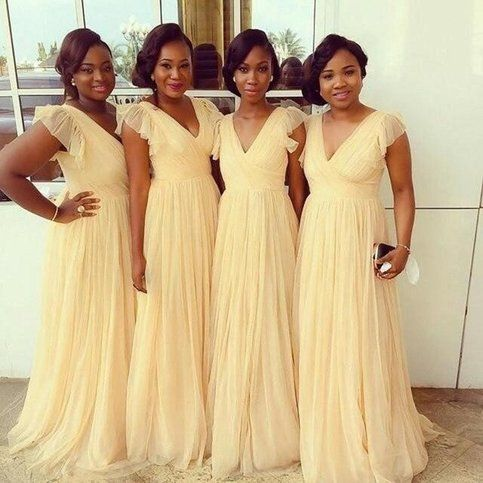 Yellow Bridesmaid Dresses African Plus Size Women Wedding Party Guests Dress V-neck Vestido Dama De Honor