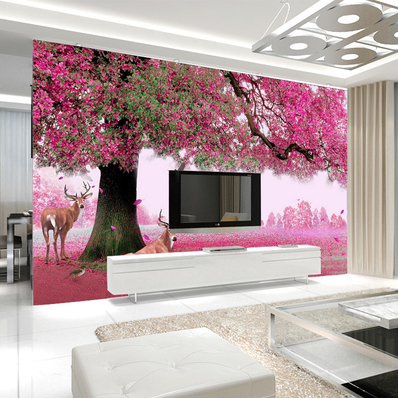 6d Stereo TV Backdrop Wallpaper Living Room TV Wall Mural Pink Warm Bedroom Bedside Seamless Fabric Wallpaper