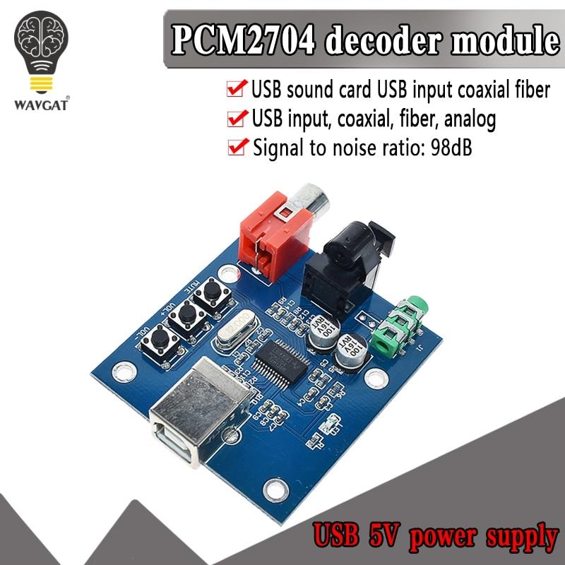 WAVGAT PCM2704 USB DAC USB Power Fiber Optic Coaxial Analog Output For Raspberry Pi Raspbian RaspBMC Windows 7 Need No Drive