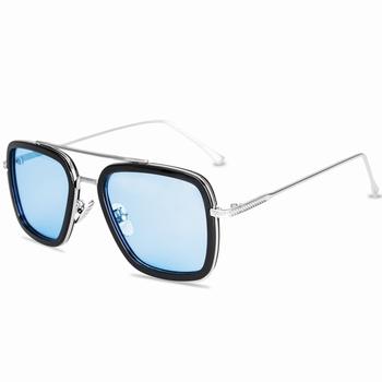 Tony Stark okulary przeciwsłoneczne okulary męskie Vintage Retro męskie okulary Iron Man 3 Sunglases żółte czerwone okulary przeciwsłoneczne 2020 odcienie męskie óculos tanie i dobre opinie QUISVIKER SQUARE Dla osób dorosłych Z poliwęglanu UV400