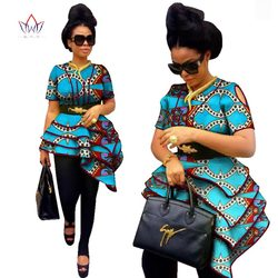 BRW estilo africano Mujer moda moderna blusas Dashiki estampado africano blusas de talla grande M-6XL ropa de mujer