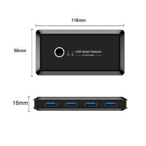 Image 3 - USB3.0/2.0 KVM switch, 2 in 4 out USB condivisa switch box KVM switch hub, a portata di mano con chiave manuale, Per Il mouse, la tastiera, scanner