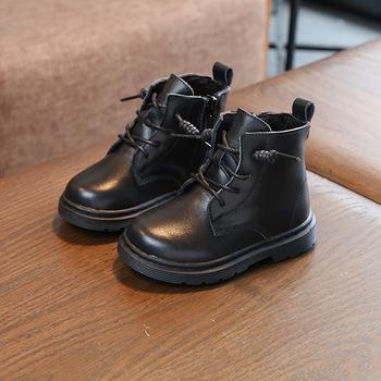 Comfortable Autumn Winter Boys Short Boots Genuine Leather Girls Boots Plus Velvet Martin Boots Warm Cotton Boots Side Zipper tanie i dobre opinie MEMED CH Prawdziwej skóry RUBBER Buty Szycia Unisex Pasuje prawda na wymiar weź swój normalny rozmiar Dzieci 13-18 M