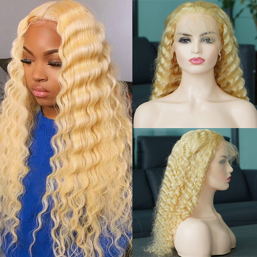 13x6 Glueless 613 Honey Blonde 150% Density Lace Front Wig Brazilian Deep Wave Lace Front Human Hair Wigs Pre Plucked