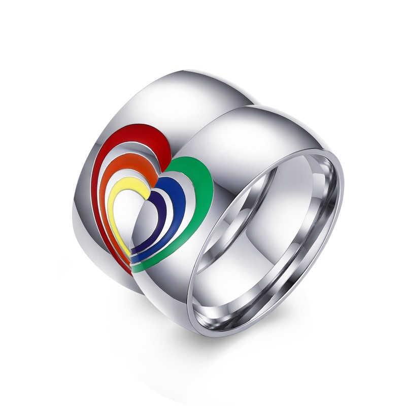 Rainbow obrączki ze stali nierdzewnej obietnica obrączki dla par pierścionek zaręczynowy dla niej i dla niego