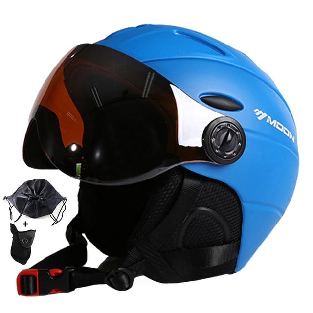 Lua meia coberto certificação ce capacete de esqui integralmente moldado esportes ao ar livre óculos de esqui capacete snowboard