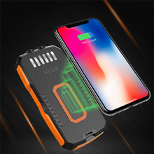 Solar Power Bank 25000 Mah Qi Draadloze Oplader Voor Samsung Iphone Xiaomi Powerbank Externe Batterij Draadloze 25000 Mah Poverbank(China)
