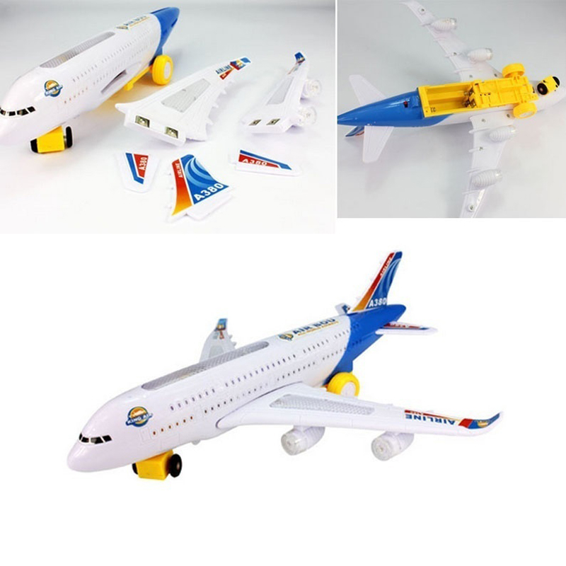 Plane Model Moving Flashing Lights Sounds Electric Airplane Airbus Child Toy Musical Toys Educational Doll