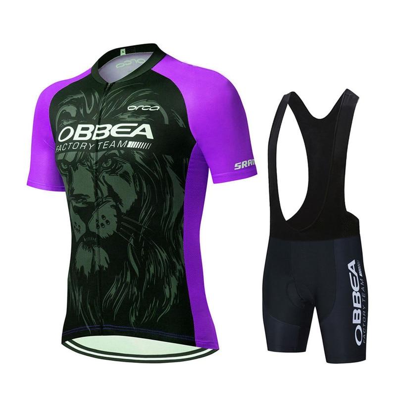 Новинка 2021, Фиолетовый Профессиональный Комплект для велоспорта с коротким рукавом, мужской костюм для велоспорта, Летний дышащий комплект...