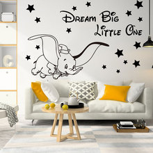 Cartoon Dream Big Little One Fly Dumbo Elephant Star Wall Decal Kids Room Animal Inspirational Quote Sticker A461