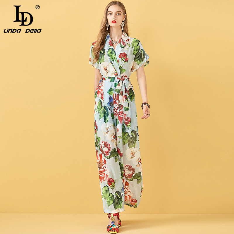 LD LINDA DELLA Fashion Runway Summer Casual Women Sexy Cross V-neck Short Sleeve Drawstring Floral Print Ladies Loose Rompers