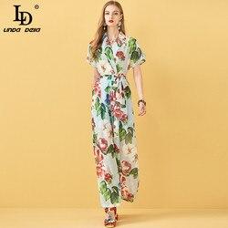 LD LINDA DELLA Fashion Runway verano Casual mujeres Sexy Cruz cuello pico de manga corta con cordón Floral de impresión de las señoras mamelucos sueltos