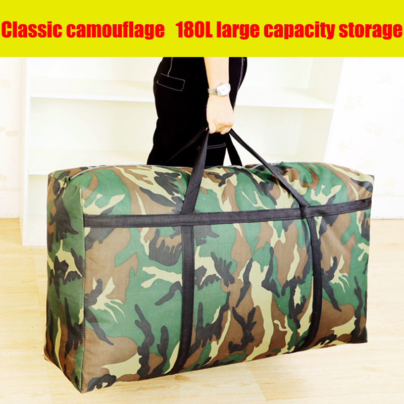Camouflage Luggage Moving House Big Bag Thick Waterproof Oxford Cloth Moving Artifact Large Woven Storage Men's Travel Bag 180L