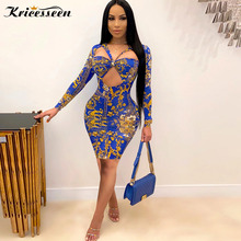 Kricesseen Sexy Blue Print Mini Dresses New Women Fashion Long Sleeve Front Hollow Out Bodycon Skinny Clubwear Dresses