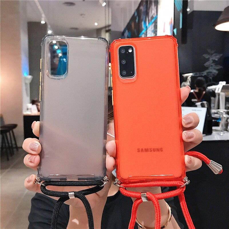 Funda de teléfono con cadena cruzada, para Samsung Galaxy S20, S20Ultra, S10, S10E, S10Plus, A51, A71, note 10, cordón, correa para el cuello 1