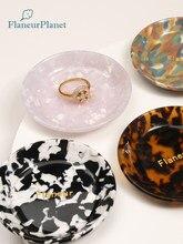 FlaneurPlanet Gold Foiled Personalized Monogram Tortoiseshell Acetate Ring Dish Bridesmaid Gift Jewelry Tray